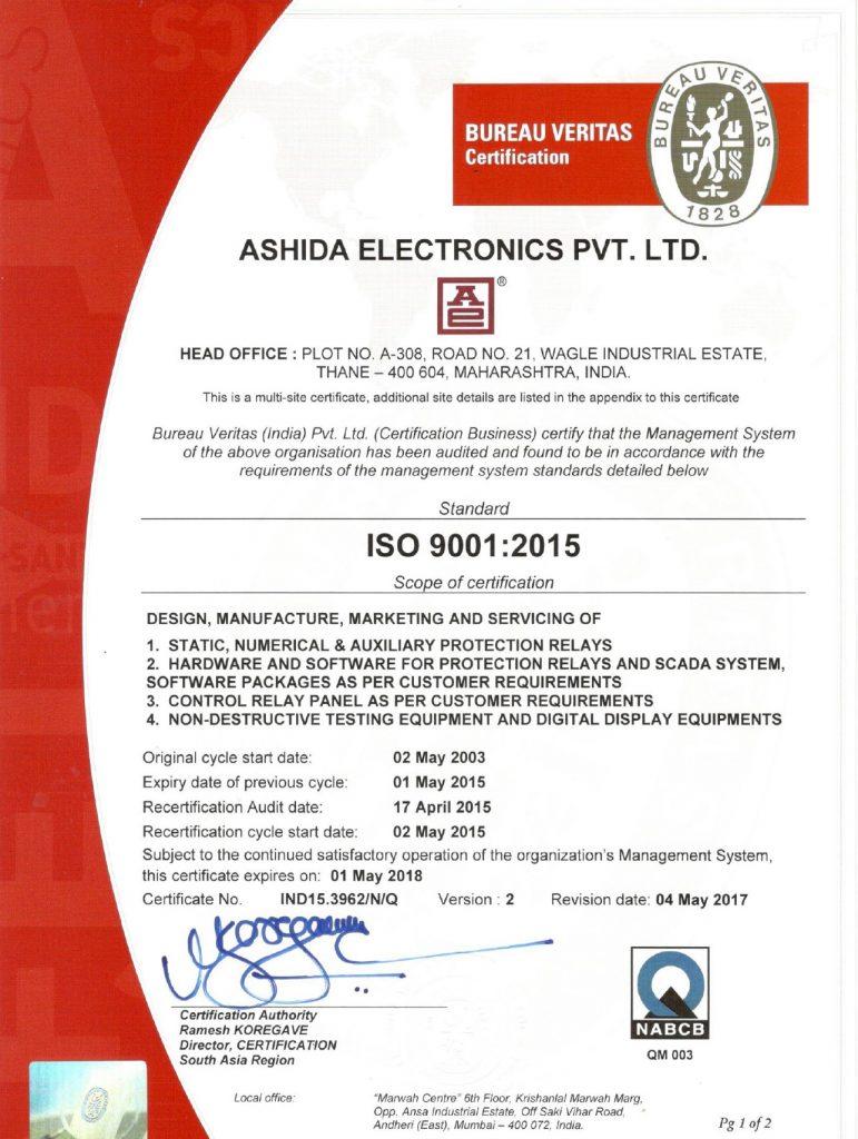 Ashida ISO Certificate 9001:2015 NABCB