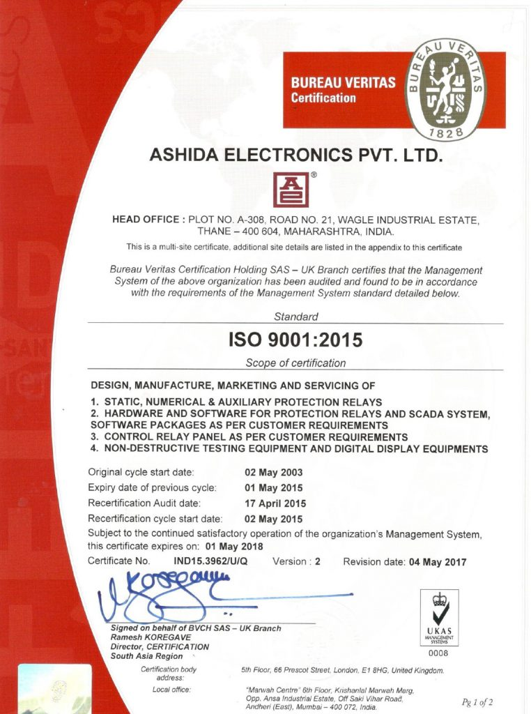 Ashida ISO Certificate 9001:2015 ukas