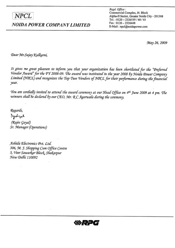 NPCL letter for preferred vendor award